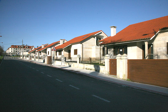 vista urbanización de chalets en moraña pontevedra